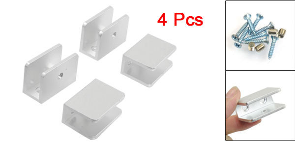 Wall Mount 10-12mm Thick Glass Metal Clip Clamp Silver Tone 4 Pcs(China (Mainland))