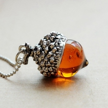 Fashion Women Glaze Stone Necklace Orange Quartz Real Pine Cone Acorn Design Pendant Drop Crystal Natural