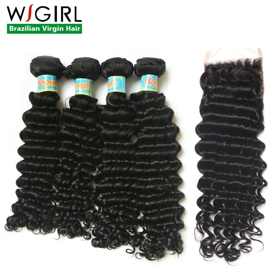 Grade 7A Peruvian Virgin Hair With Closure Deep Wave Peruvian 4 Bundles With Closure 100% Human Hair With Lace Closure<br><br>Aliexpress