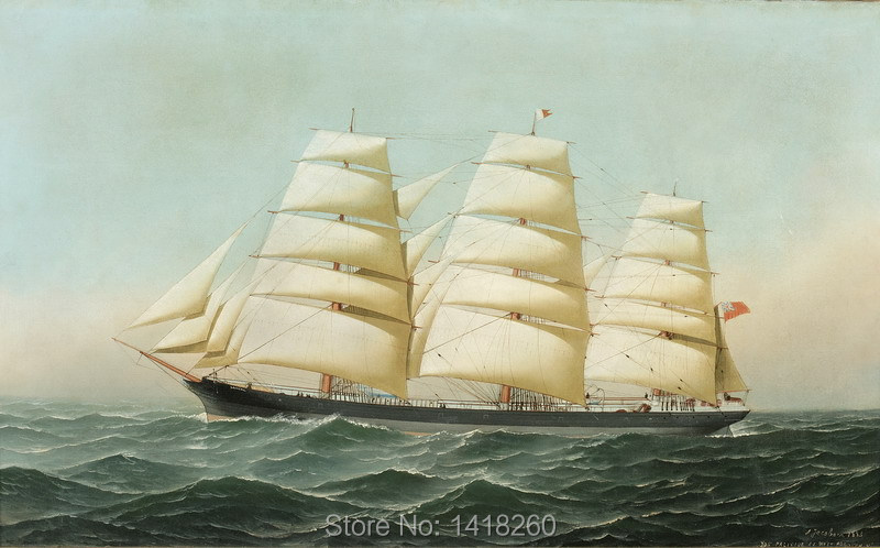 canvas painting prints poster art wall decoration: The British clipper ship Laomene under full sail at sea by Antonio Jacobsen(China (Mainland))