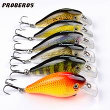 "6pcs Proberos Brand Fishing lure 3""-7.6cm Fishing Bait 12.75g Crankbait 6 Color Fishing Tackle 6# Hook(China (Mainland))"