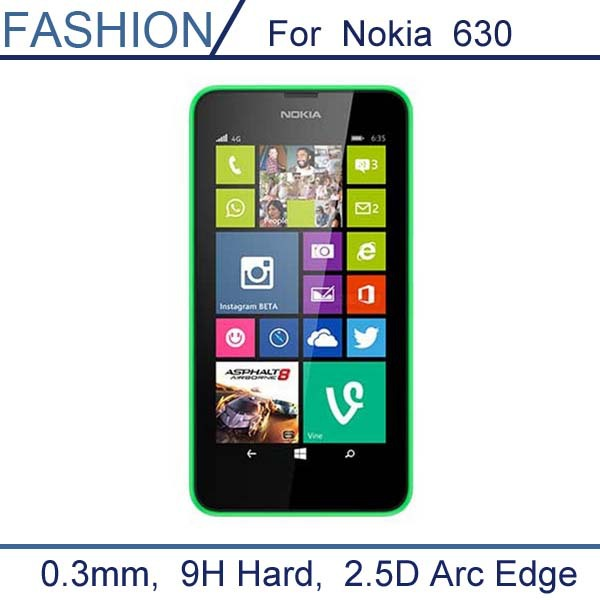 0.3mm Tempered Glass for Nokia Lumia 630 2.5D Arc Edge 9H Hard Ultra Thin Screen Protector with clean tools
