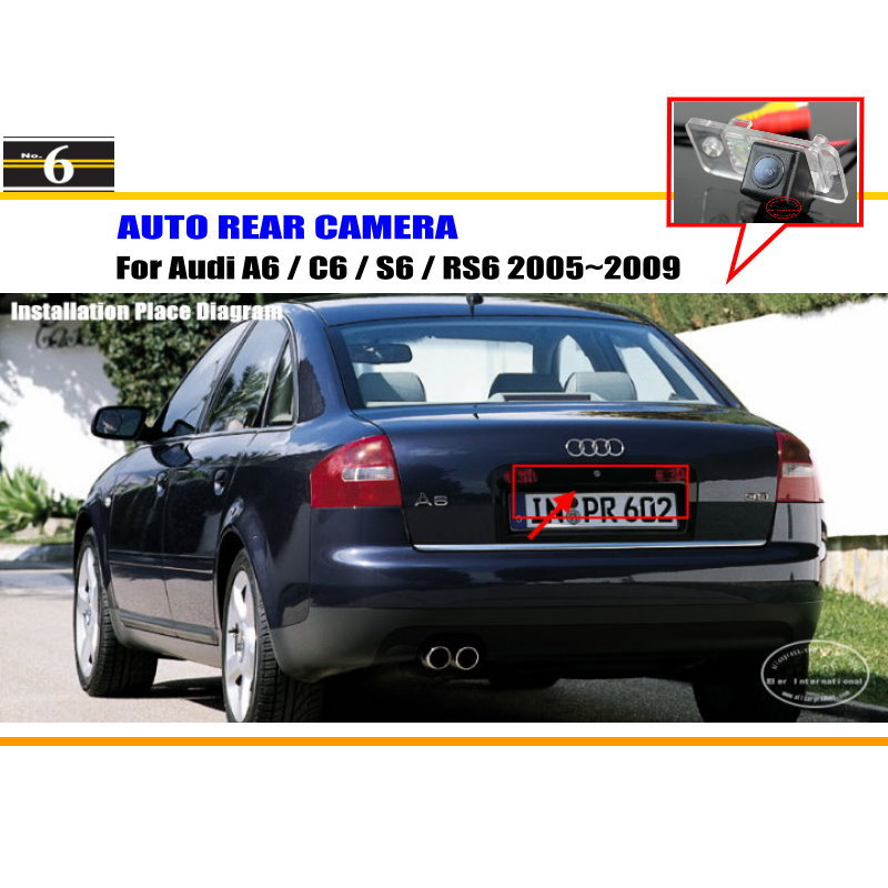 Car Rear View Camera For Audi A6 / C6 / S6 / RS6 2005~2009 / Reverse Camera / HD CCD RCA NTST PAL / License Plate Light OEM(China (Mainland))