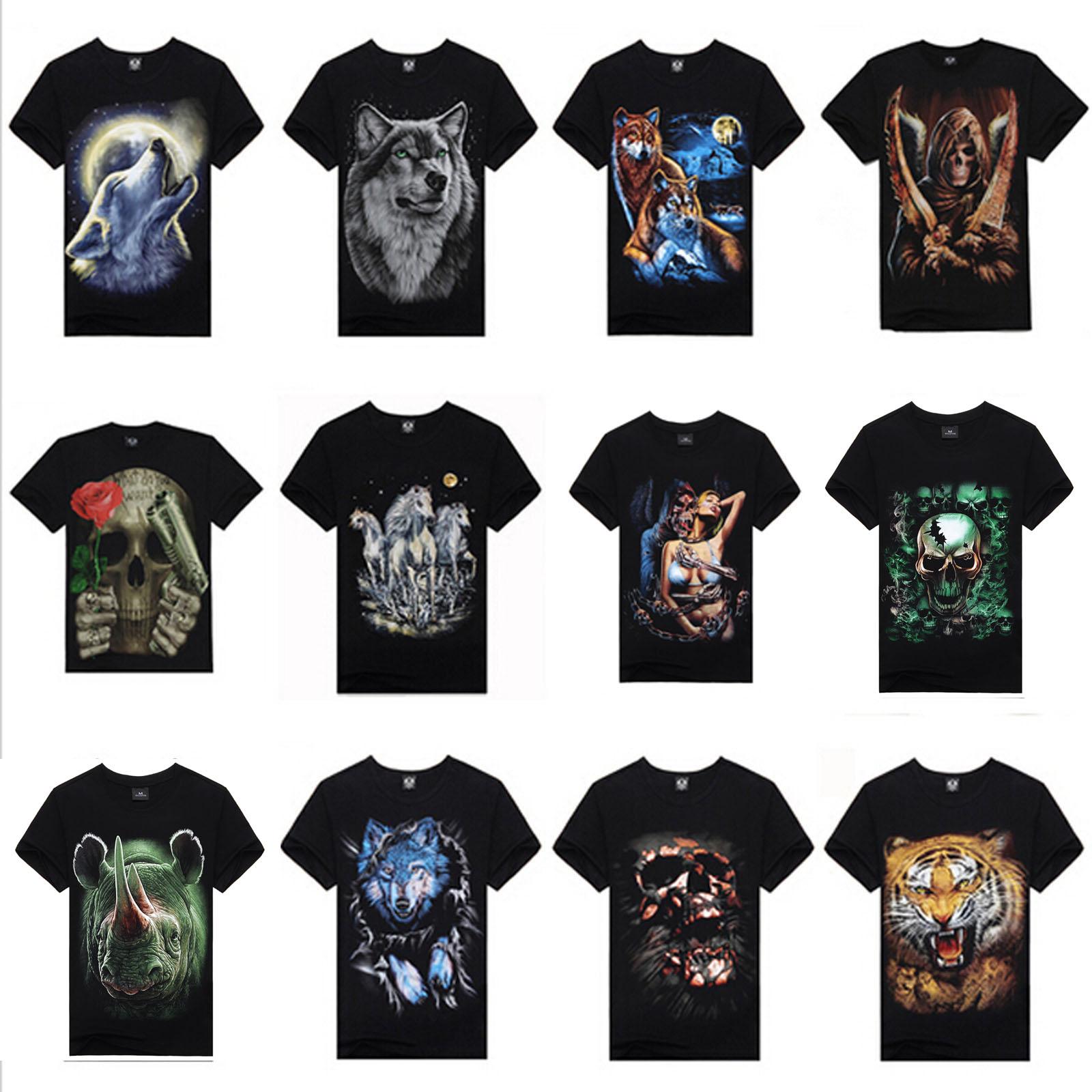 Top Quality 2015 Summer New Brand Men's Cotton Short Sleeve T-shirt Fashion O-Neck Casual Skull Wolf 3d Print T Shirt M-XXXL(China (Mainland))