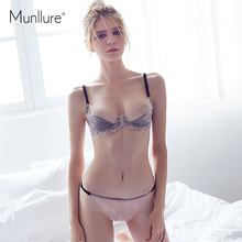 Buy Munllure Underwear sexy lace embroidery bra ultra-thin cutout bra set gauze thin women's underwear bra set for $14.27 in AliExpress store