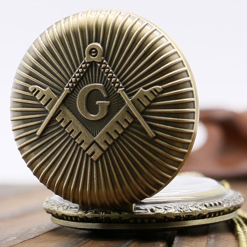 2017 New Arrival Bronze Freemasonry Quartz Pocket Watch Necklace Pendant Chain Free Mason Relogio De Bolso Gift