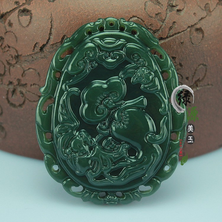 Xinjiang Hetian dark green black natural jade men women special pendant stone certification - Fashion beauty 01 store