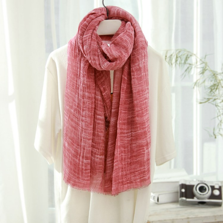 Pleated Linen Fabric Solid Fashion 2016 Winter Scarf Women Scarves Warm Casual Ukraine Soft Scarfs Christmas Gifts Cape Bandana