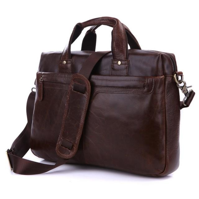 Free Shipping Vintage Genuine Leather  Men's Briefcase Laptop Handbag Messenger bag messenger bag shoulder bag JMD7075LQ-288