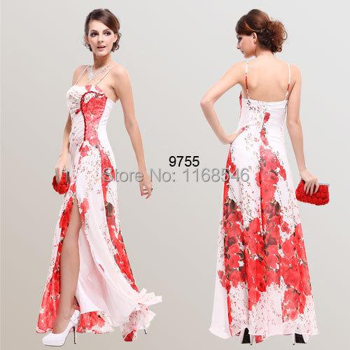 HE09755 Spaghetti Straps Reds Chiffon Floral Printed Evening Dress(China (Mainland))