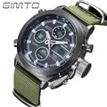 2016 GIMTO Sports Men Watch Leather Nylon Quartz Shock LED Digital Watch Army Military Waterproof Male