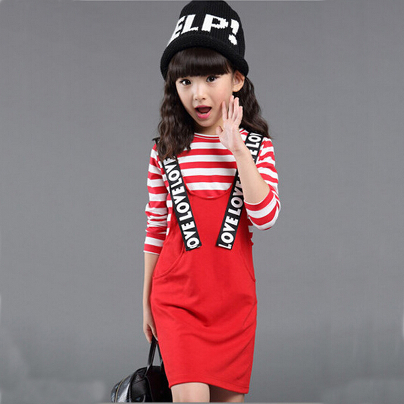 2015 New Autumn Fashion Girls Clothing Sets Letter Pattern Overalls&amp;Striped T shirt Two Pieces Children Suit <br><br>Aliexpress
