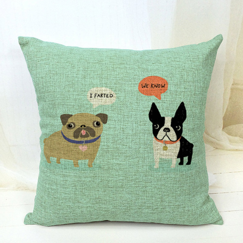 Free Shipping!!boston terrier decorative throw pillows/almofadas case for sofa car bed 45x45 ...