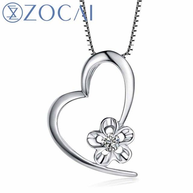 ZOCAI Heart Reflection 18K White Gold 0.05 CT Certified I-J / SI Diamond Pendant with 925 Silver Chain Necklace D00006