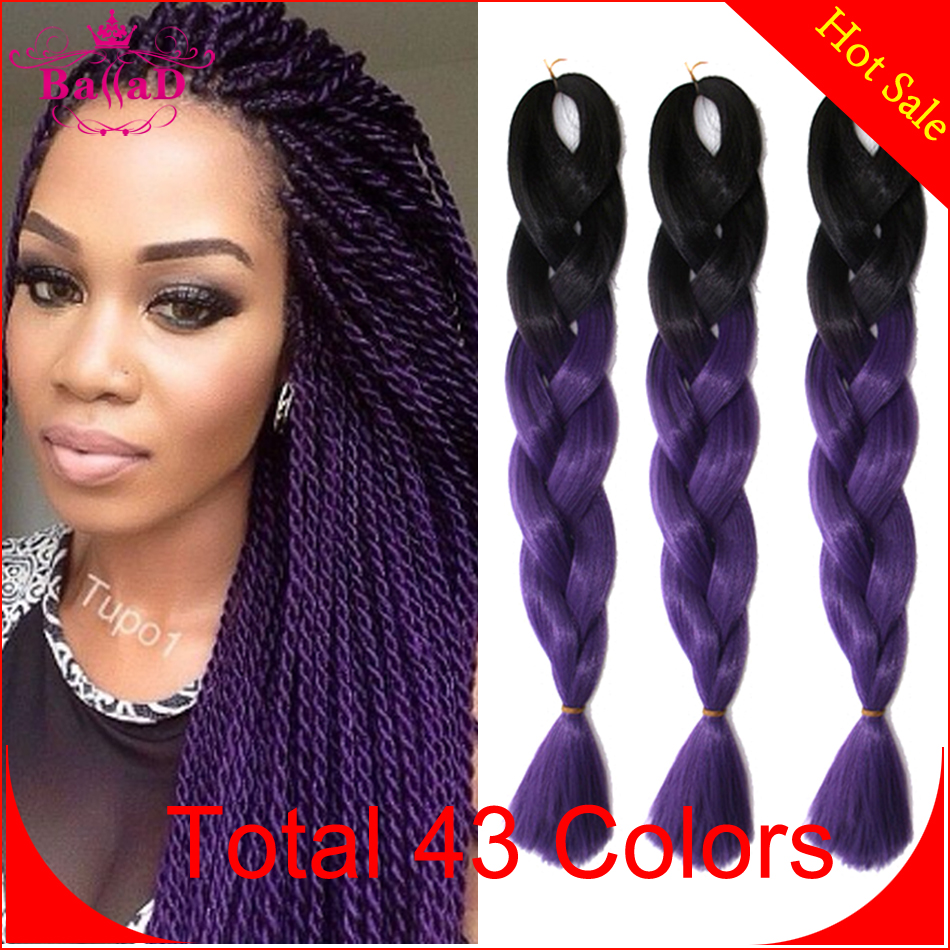Crochet Box Braids With Kanekalon Hair : hair 100g/pc two tone crochet braid hair extensions box braids hair ...