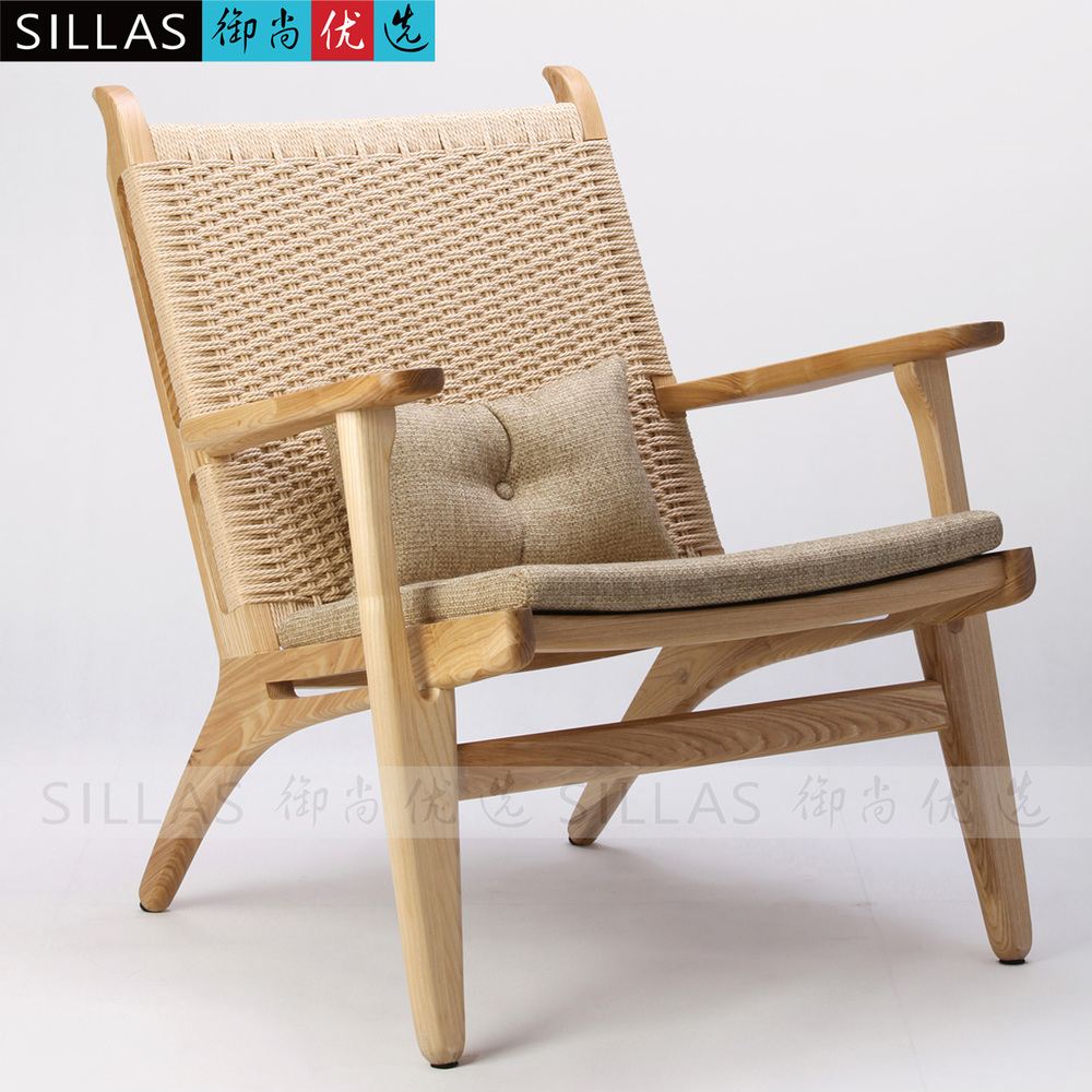 Nordic single sofa chair wood logs braided rope lounge for Furniture in fashion
