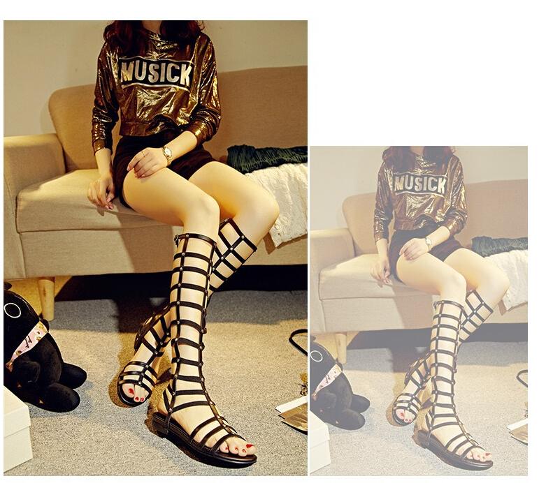2015 plus size 34--41 rivets women flat summer shoes elastic genuine cow leather cut outs sandals boots - 88 store