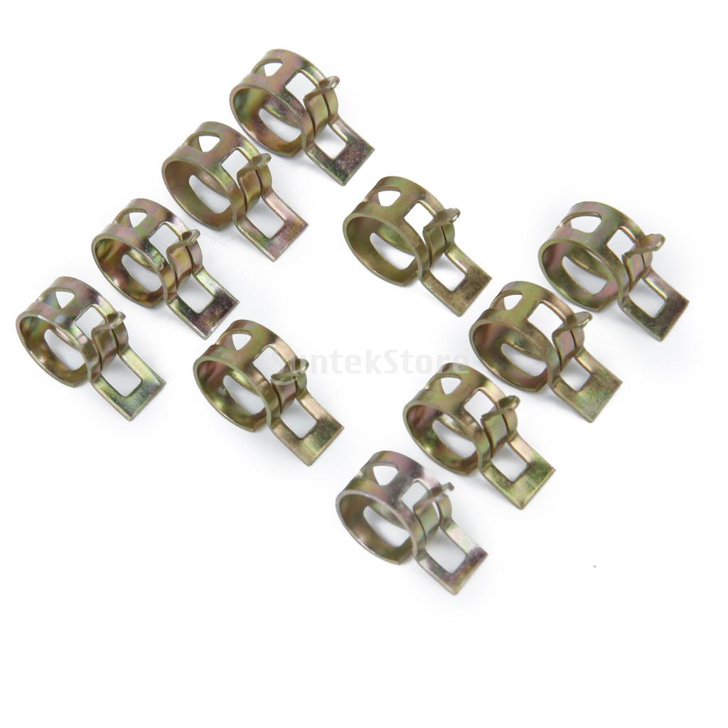 Free Shipping 10 x Spring Clip Fuel Hose Line Water Pipe Air Tube Metal Clamps Fastener Diameter 10mm HQ(China (Mainland))