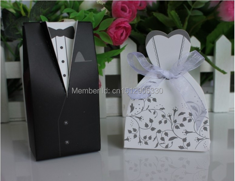 New Wedding Favor Ideas 2015 : 2015 new 100 pcs/lot Bride and Groom Wedding Favor Boxes Gift with ...