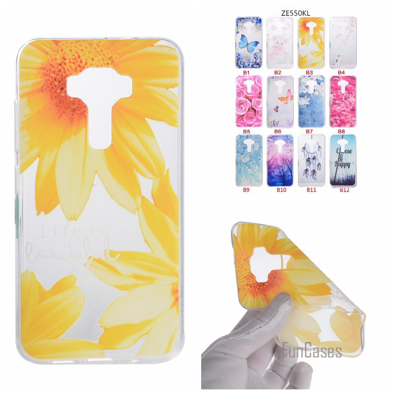 Cartoon Flower Butterfly Bear Tree Cute Back CoverGel Soft TPU Mobile Phone Case For ASUS ZE550KL coque Zenfone 2 Laser ZE550KL