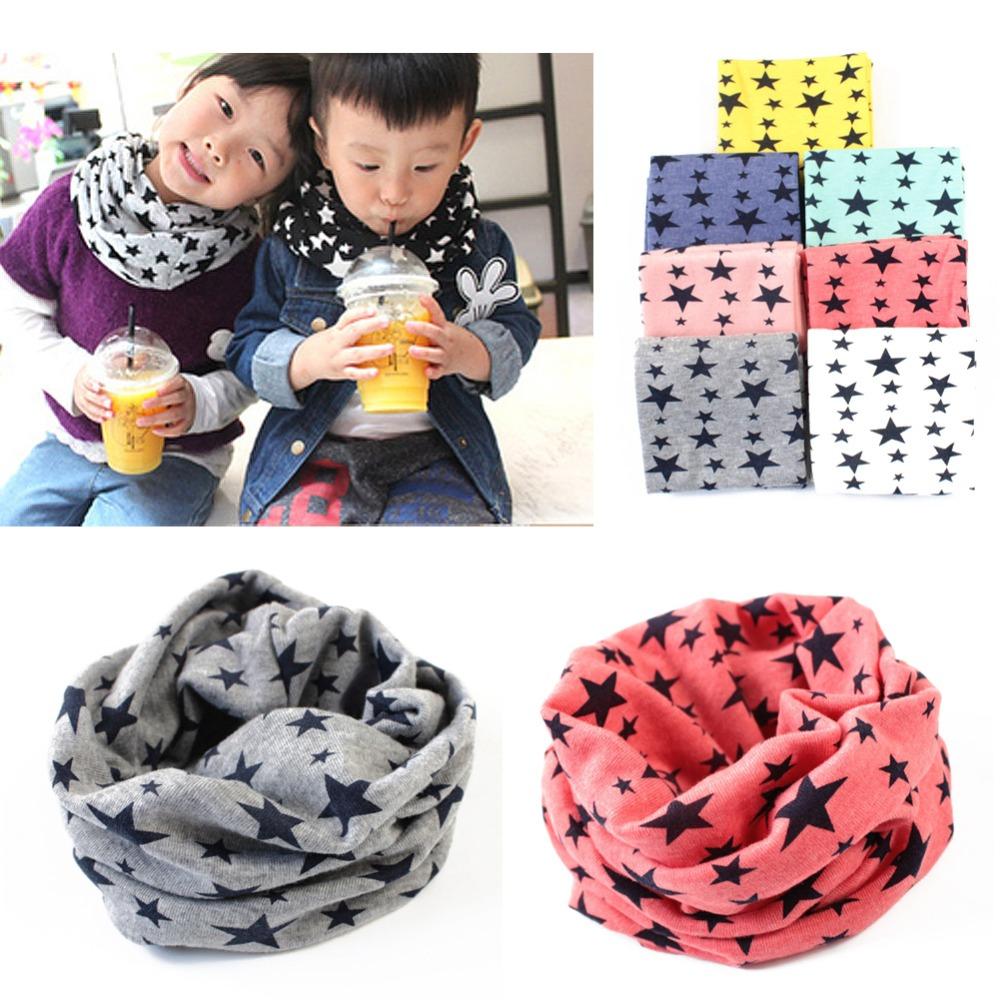 1Pc New Fashion Winter Warm Stars Collar Children O Ring Neck Scarves Cute Baby Girls Boys Print Scarf(China (Mainland))