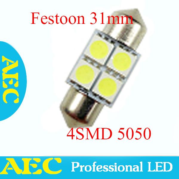 wholesale 500pcs/lot  C5W Festoon 4 SMD 5050 31mm 4SMD 5050 LED Festoon Dome Bulb Xenon White DC12V<br><br>Aliexpress