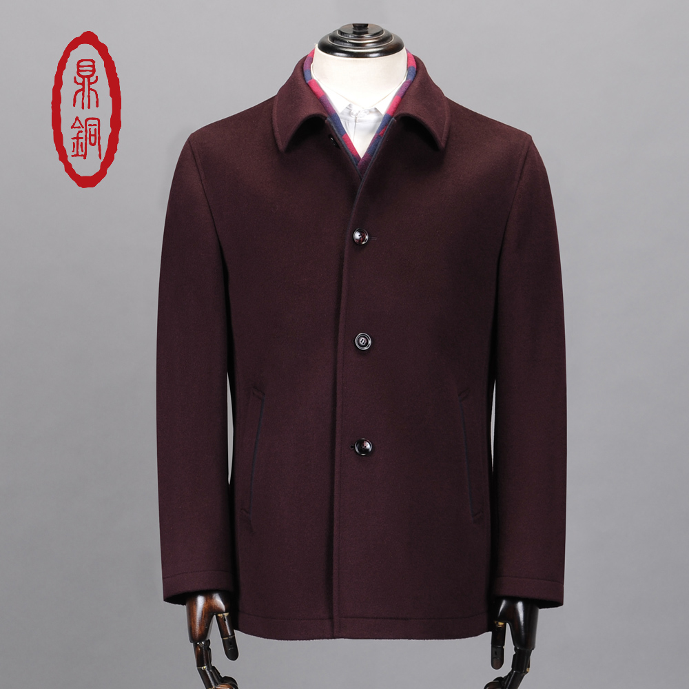 DINGTONG Men's 100% Wool Coat WOOL Jackets Casual Fashion Burgundy Classic Style Loose Fit Coats Clearance Sale Trench Overcoat(China (Mainland))