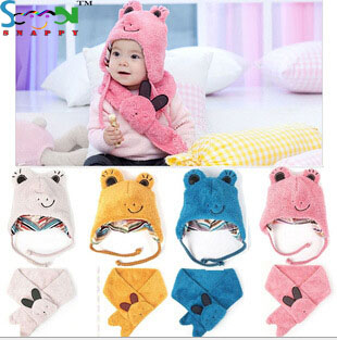 Fashion Lovely Children Hat+Scarf 2 Pcs Set Warm Winter Beanie Kids Velvet Cashmere Animal Cap Christmas Gift(China (Mainland))