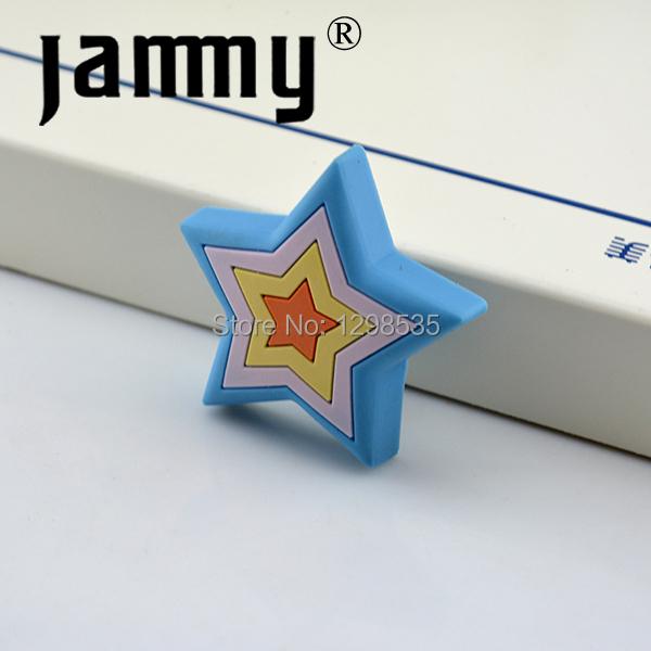 2015 spry star soft cabinet knob kids bedroom furniture handles blue star drawer pulls kids bedroom dresser knobs(China (Mainland))