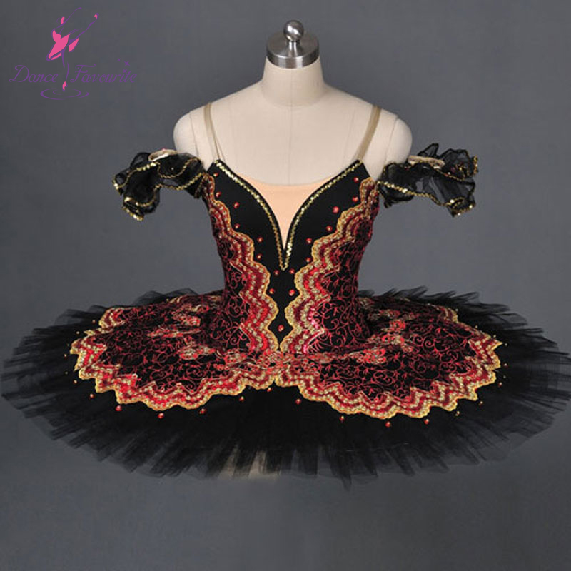 Adult classical ballet tutu professional black red, girl performance stage competition platter costume - Dance Favourite store