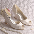 Custom Handmade D Orsay Spring Ladies Bridal Shoes Wedding Wedge Heel Red Satin Dropship