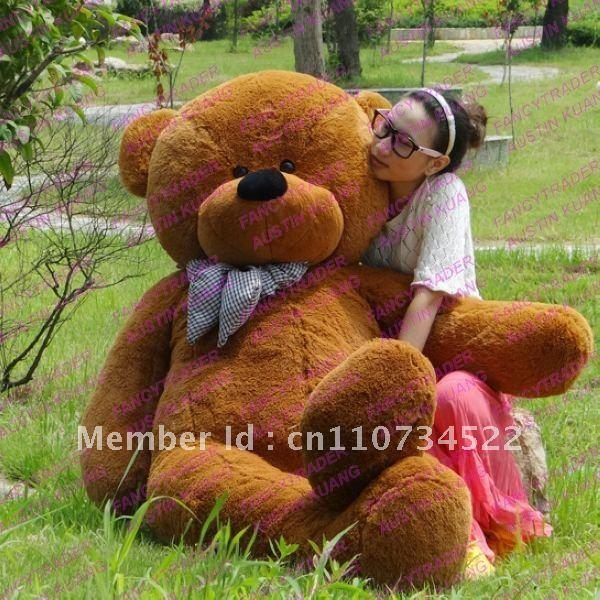 Fancytrader Hot Sales 6.56 Feet / 200cm Dark Brown Giant Plush Stuffed Teddy Bear Free Shipping FT90056(China (Mainland))