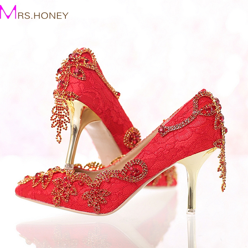 red lace bride shoes with tassel rhinestone stiletto high