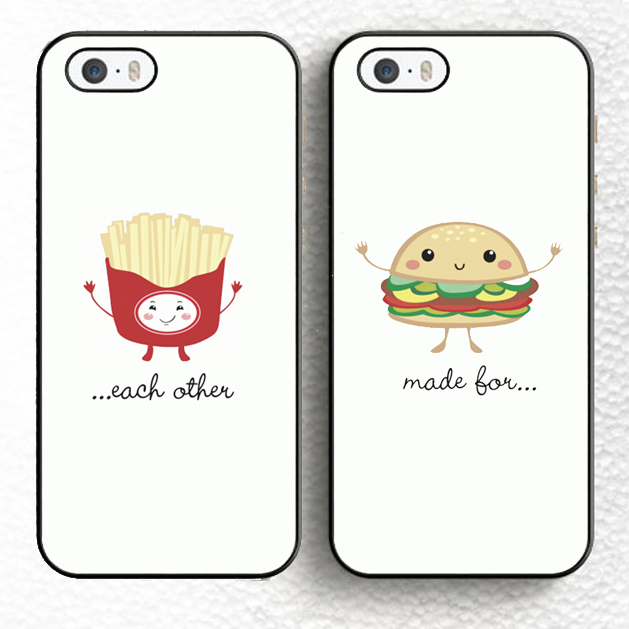 2pcs/lot cute Burger Buddy Fry Friend BFF Pair Matching Soft TPU Mobile Phone Case For iPhone 6 6S Plus 5 5S 5C 4S SE Cover(China (Mainland))