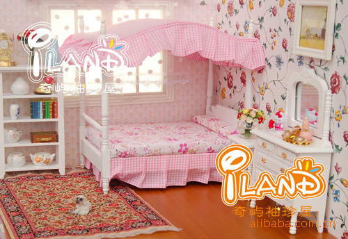 1:12 Miniature Doll House Set Wooden Furniture Accessories Mini pink princess bedroom furniture Bed + 2 cabinet Dollhouse Toy - BOA 's store