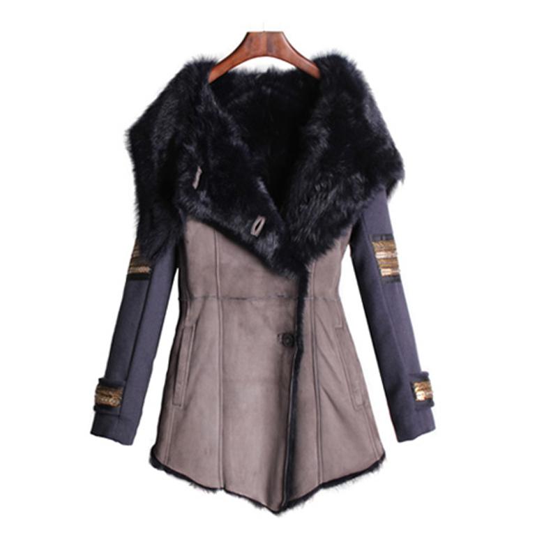 2016 Fashion Winter Women Leather Jacket Fox Fur Faux Big Turn-down Collar Long Sleeve Coat 2 Colors 2XL