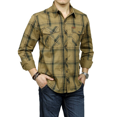 High quality men 39 s military style shirts cotton long for Mens military style long sleeve shirts