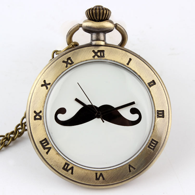 Free shipping Antique cuff beard mustache pendant necklace table men personalized lanyards pocket watch relogio de bolso(China (Mainland))