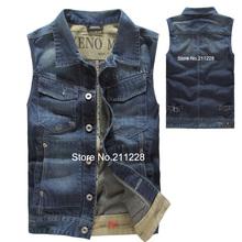 wholesale korean style 2014 summer fashion men's blue denim vest coat male designer cotton jean jacket outwear  for men(China (Mainland))