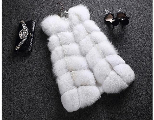 LIYAМех Женщины's 100% Real Genuine Полный Pelt Skin Luxury Fox Мех Длинный Жилет ...
