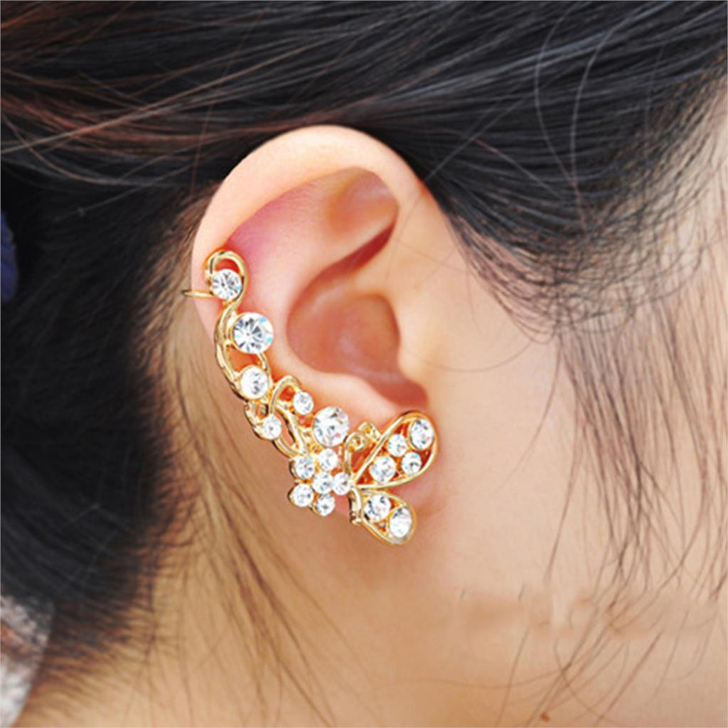 Trendy Crystal Butterfly Flower Clip Earring Ear Cuff Earring Wrap Clip On For Right Ear(China (Mainland))