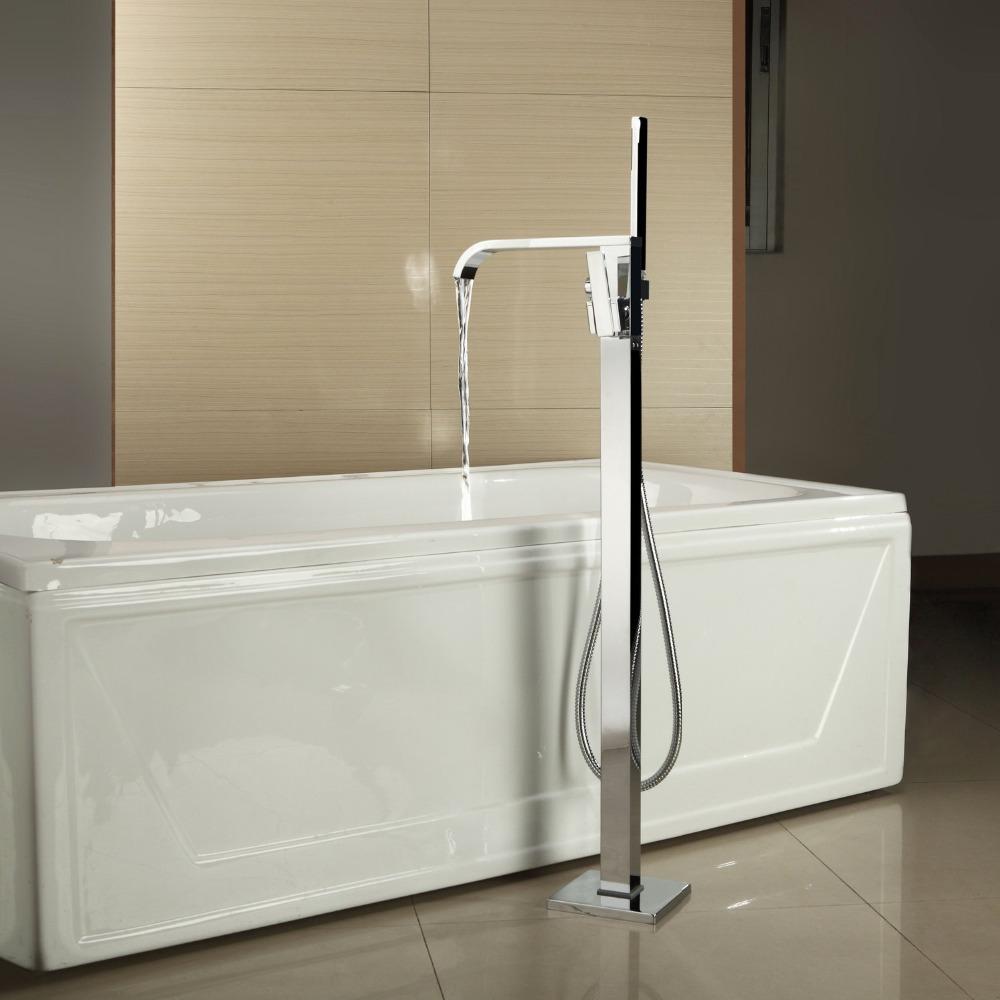 Polish Chrome Bathroom Shower Tap Floor Mounted Mixer Cold&Hot Bathtub With the Hand Sprayer Shower Set(China (Mainland))