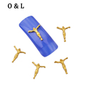 10pcs Gold Metal Nail Decorations Jesus Design 3d Alloy DIY Beauty Salon Nail Crafts Accessories