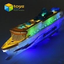 Light Music Universal Ocean Liner Ship Model Flashing Sound Electric Cruises for Children Kids Boat Toys Gift Automatic Steering(China (Mainland))