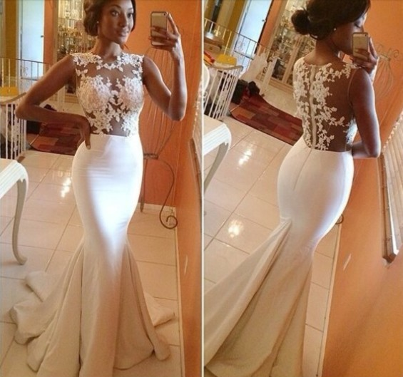 2015 Hot Sale Custom Sexy Lace Hook Flower Perspective Mermaid Sleeveless Celebrity Dress Prom Gown Evening Dresses Vestidos(China (Mainland))