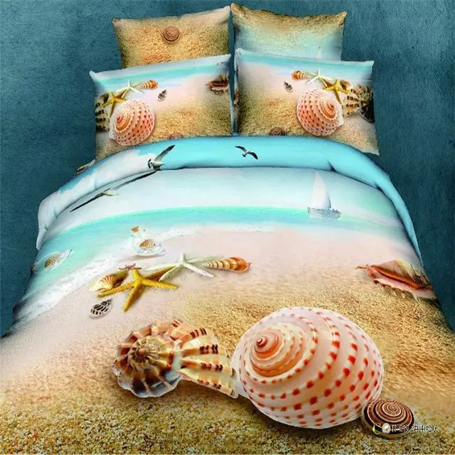 King Size 3d Shell Beach Kids Bedding Sets,220 x240cm 100% Cotton Bedding Sets 4pc,500TC 3D Ocean Beach Shell Duvet Cover King(China (Mainland))