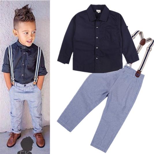 2015 Boys Suit T-shirt + pants stylish suit suspenders tie gentleman set children's letters jeans Denim kids - Alisa store