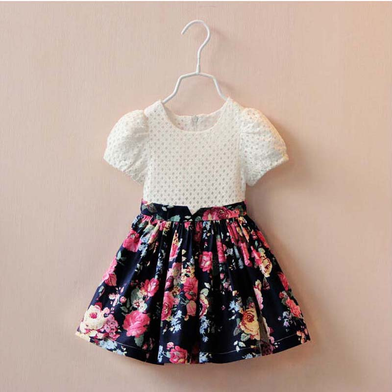 Summer Baby Girls Lace Dress Floral Puffled Sleeve Patch Princess Dresses Chlidren Party Costume Clothes(China (Mainland))