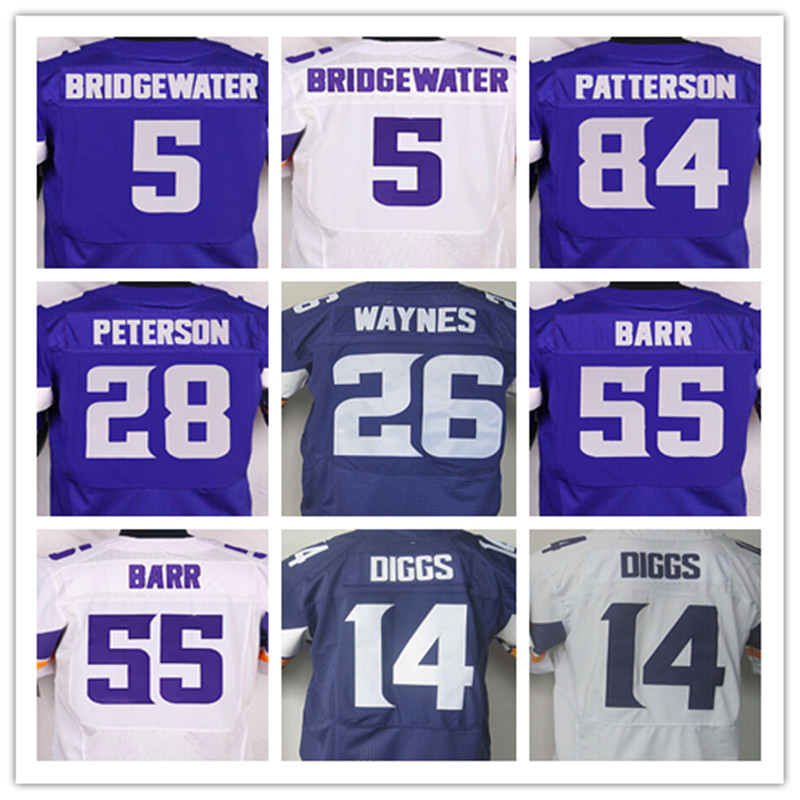 Mens 5 Teddy Bridgewater 14 Stefon Diggs 28 Adrian Peterson 26 Trae Waynes 55 Anthony Barr 84 Cordarrelle Patterson elite jersey(China (Mainland))