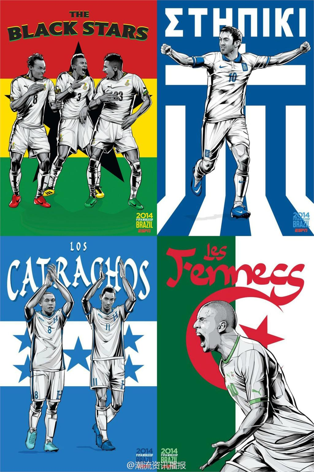 ESPN 32 World Cup Poster Brazil Soccer Football Stars Teams Art Silk Print For Room Deco hot Home Collection (05)(China (Mainland))